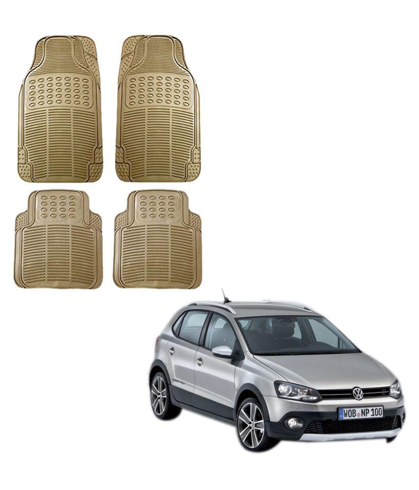 Auto Addict Car Simple Rubber Beige Mats Set of 4Pcs For Volkswagen Polo Cross