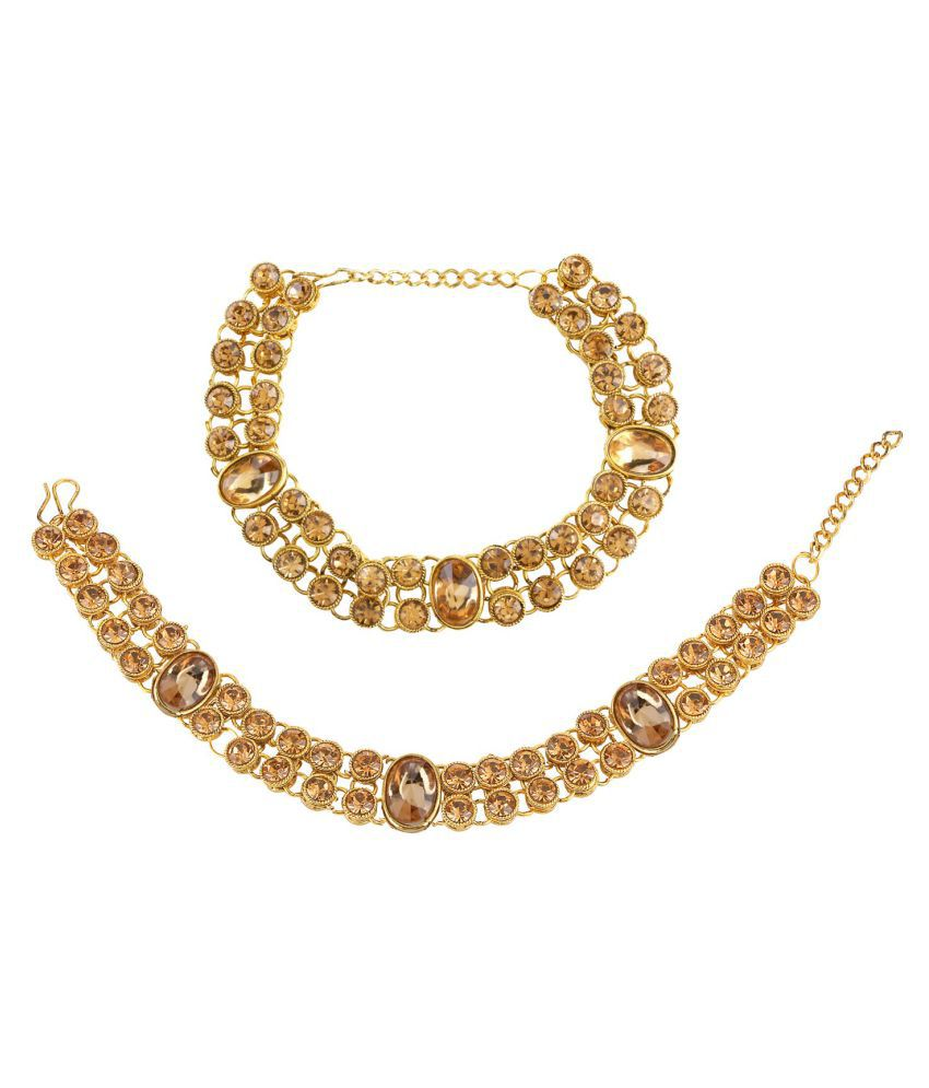 Archi Collection Fashion Stylish Traditional Gold Plated Crystal Wedding Bridal Wear Anklets Payal Jewellery