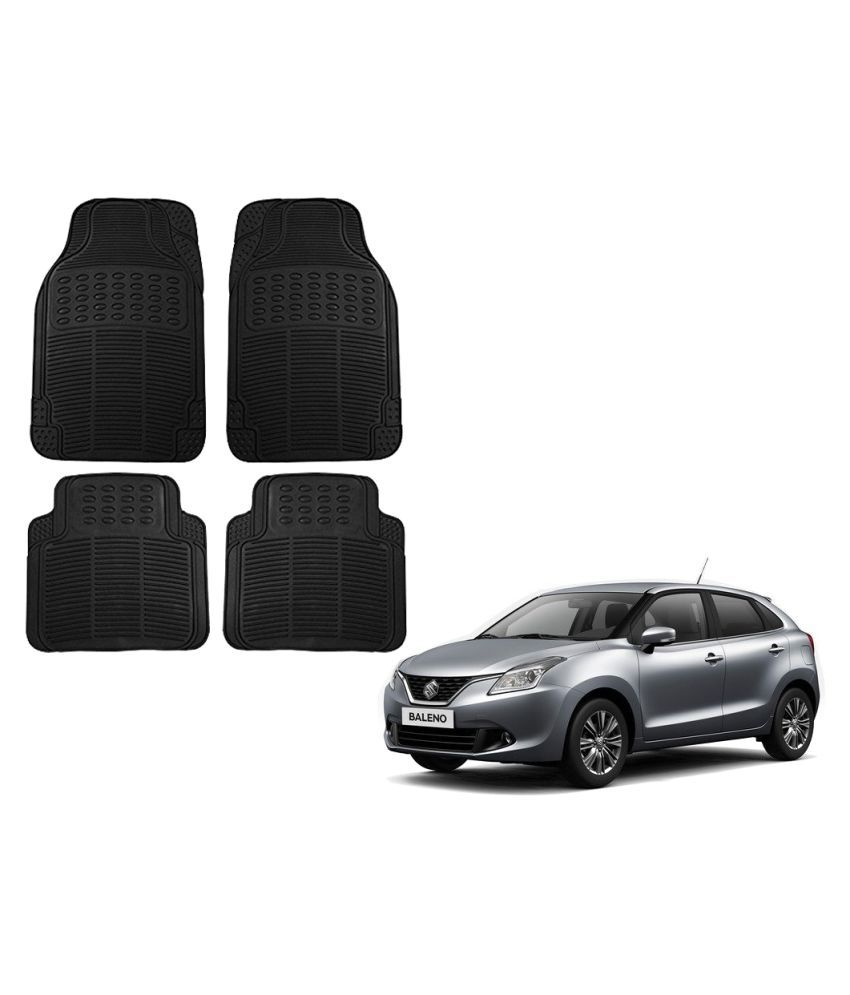 Auto Addict Car Simple Rubber Black Mats Set of 4Pcs For Maruti Suzuki Baleno Nexa