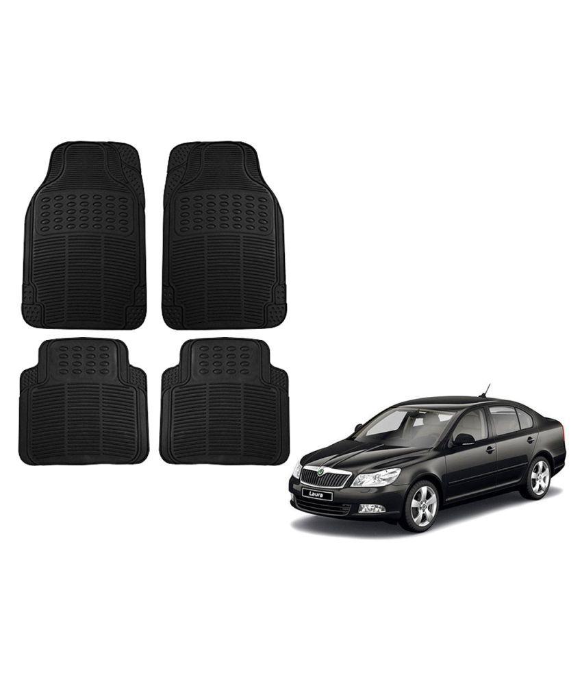 Auto Addict Car Simple Rubber Black Mats Set of 4Pcs For Skoda Laura