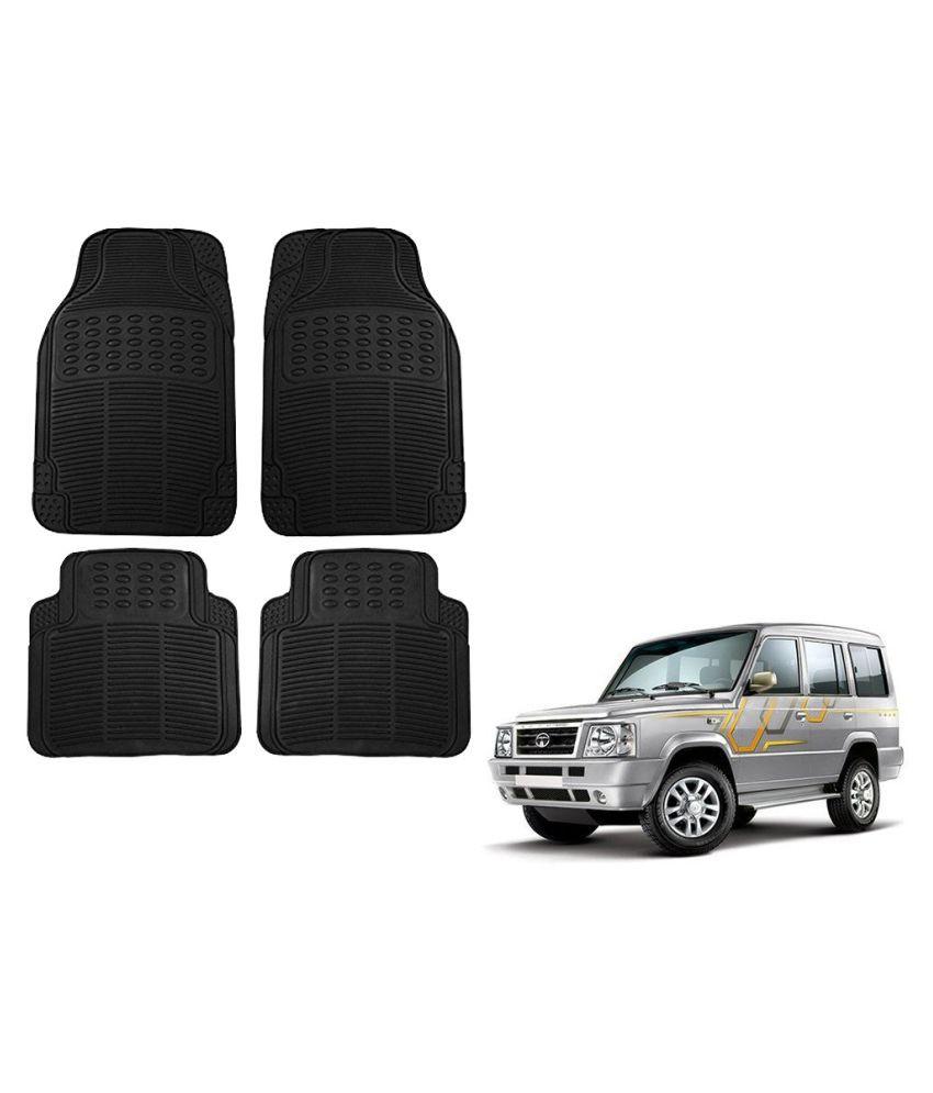 Auto Addict Car Simple Rubber Black Mats Set of 4Pcs For Tata Sumo
