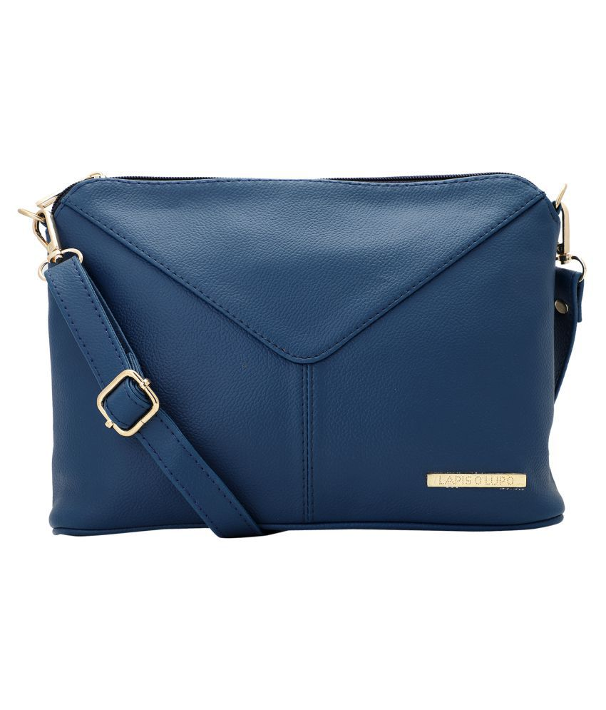 Lapis O Lupo Blue Synthetic Casual Messenger Bag