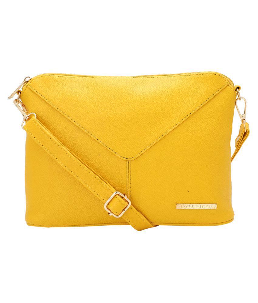 Lapis O Lupo Yellow Synthetic Casual Messenger Bag