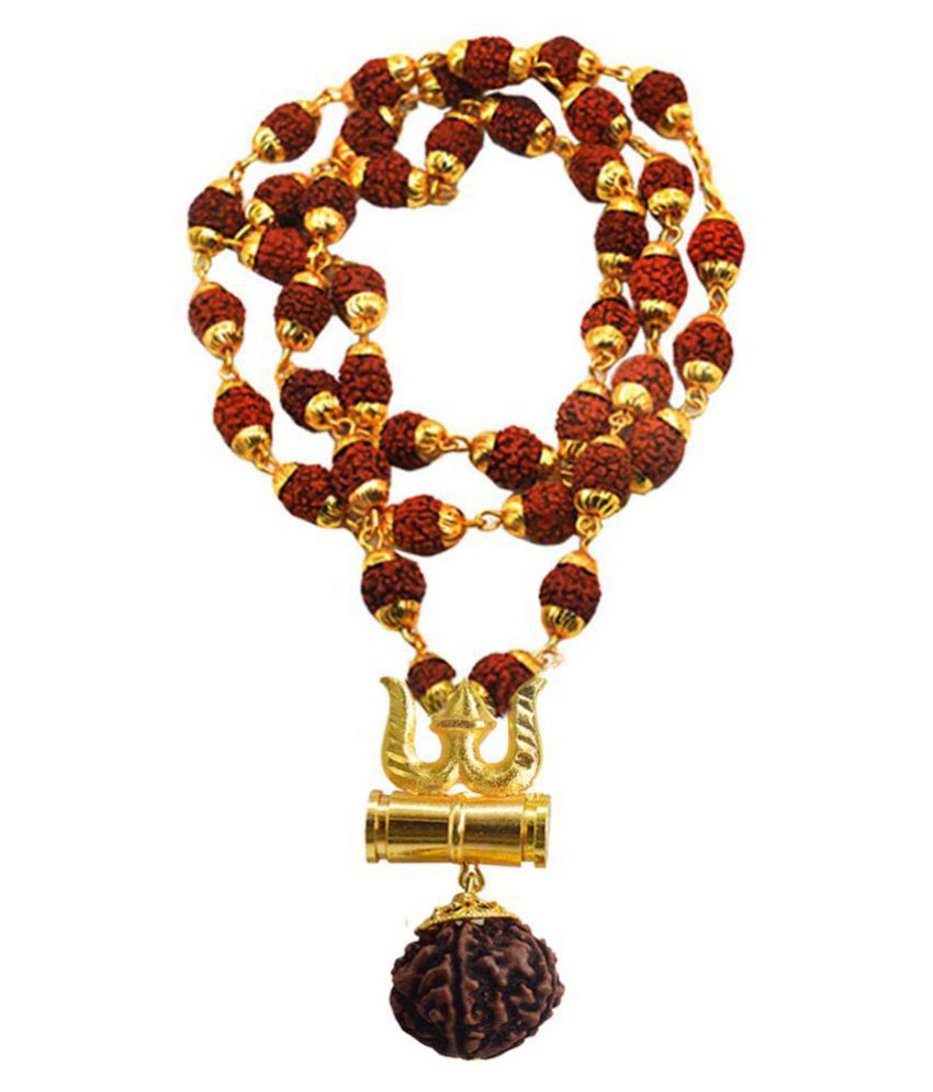 Men style New Arrival Loard Shiv Trishul Damru Locket With Puchmukhi Rudraksha Mala Gold-plated Brass, Wood