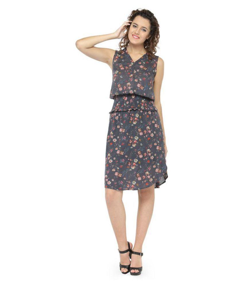 Oxolloxo Polyester Grey A- line Dress