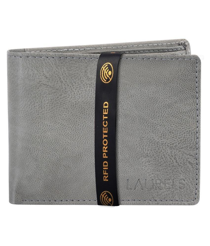 Laurels Faux Leather Gray Casual Regular Wallet