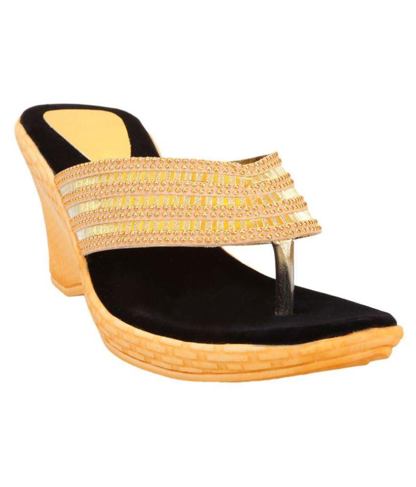 Catbird Gold Wedges Heels