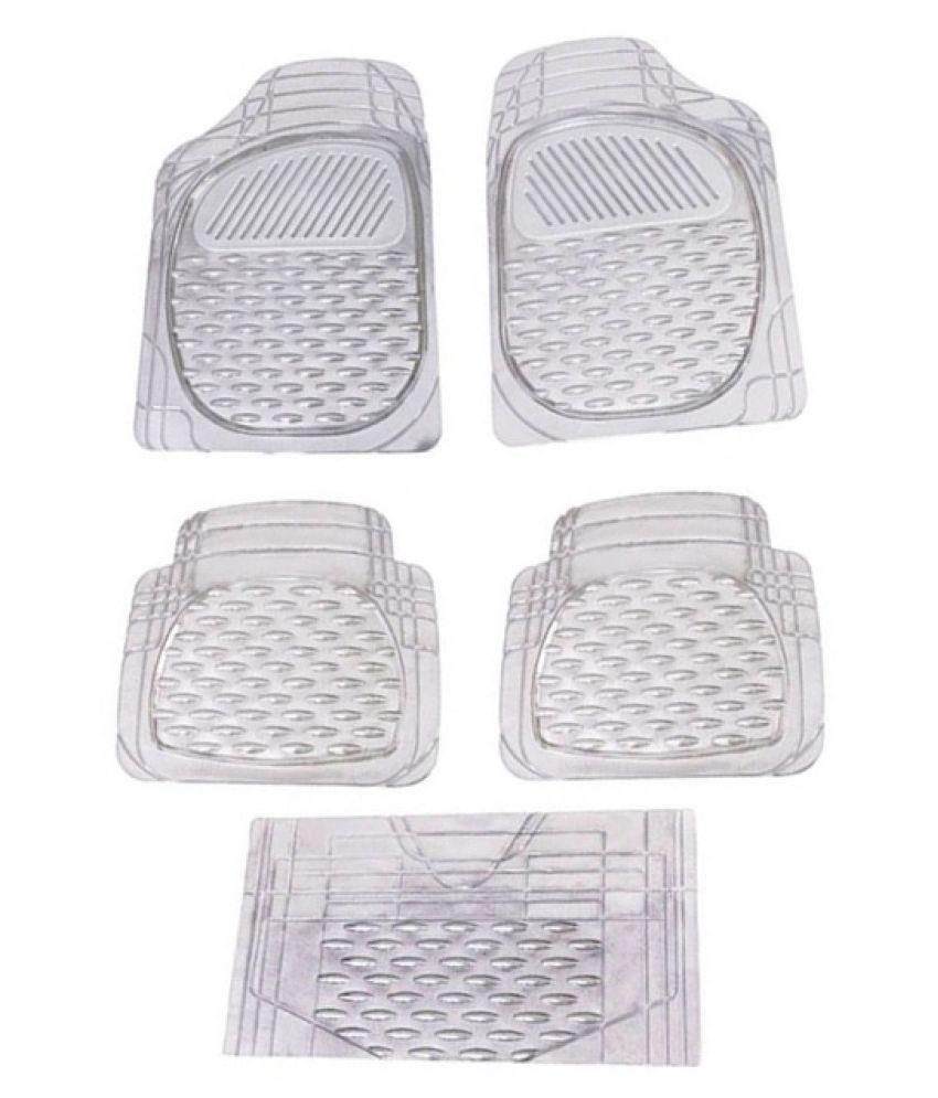Autofetch Car Floor/Foot Mats (Set of 5) Transparent White for Tata Nano
