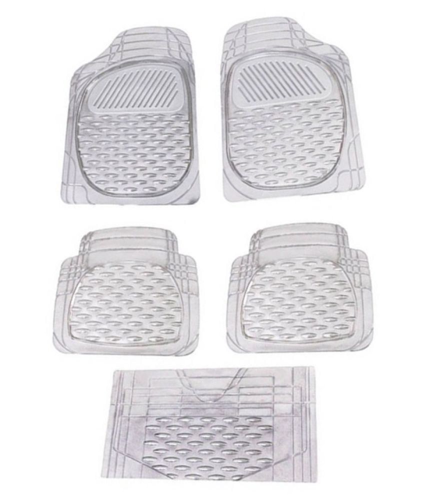 Autofetch Car Floor/Foot Mats (Set of 5) Transparent White for Mahindra XUV 500 (2012-2014)