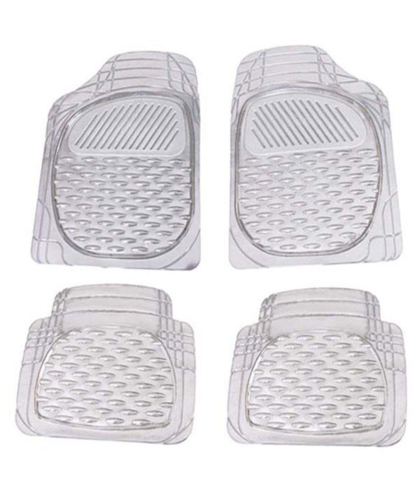 Autofetch Car Floor/Foot Mats (Set of 4) Transparent White for Maruti Ertiga