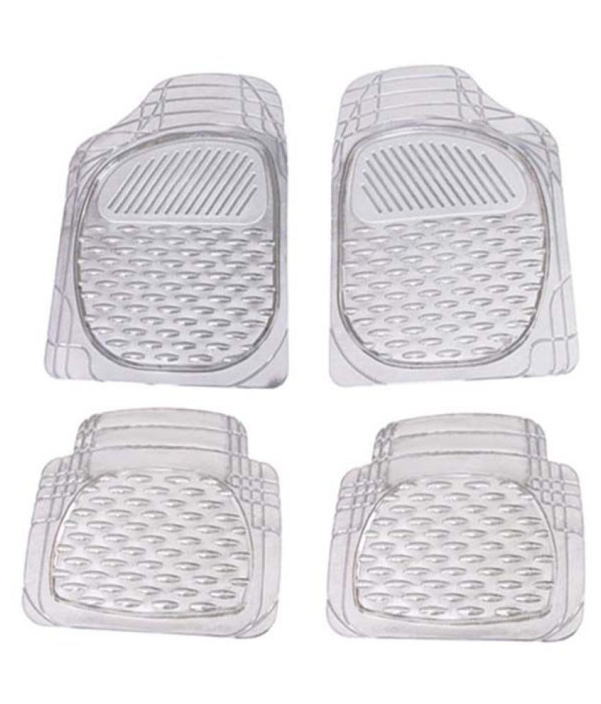 Autofetch Car Floor/Foot Mats (Set of 4) Transparent White for Mahindra KUV100