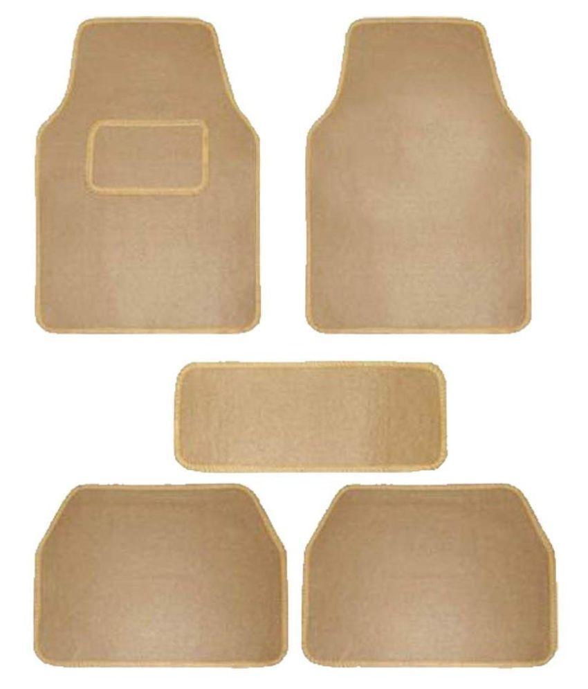 Autofetch Carpet Car Floor/Foot Mats (Set of 5) Beige for Fiat Punto Pure