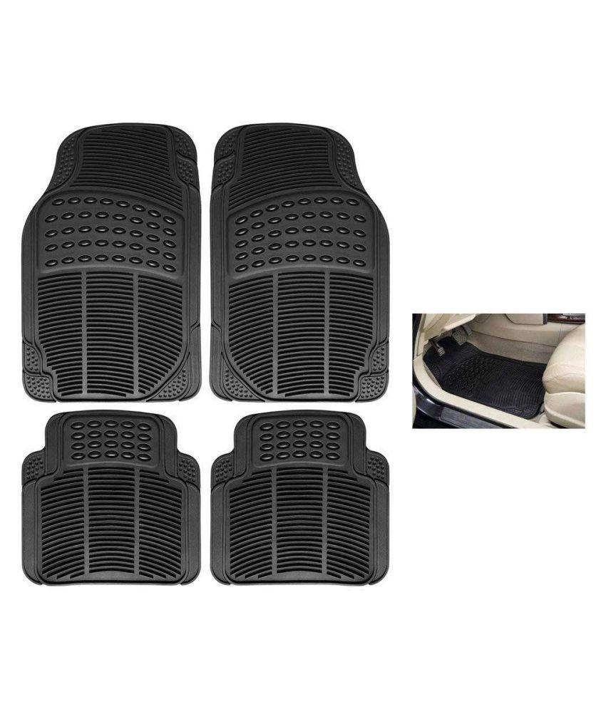 Autofetch Rubber Car Floor/Foot Mats (Set of 4) Black for Honda Brio
