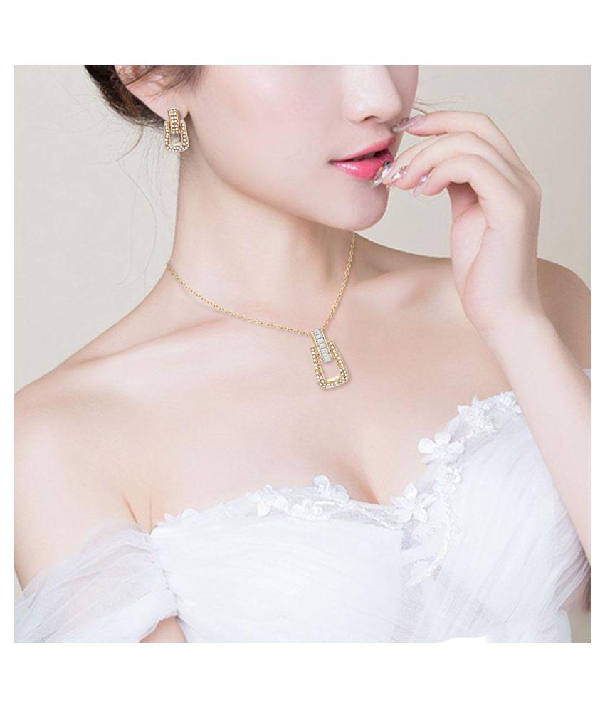 Women Rhinestone Geometric Zipper Dangle Stud Earrings Necklace Jewelry Set (Fashion Jewellery)