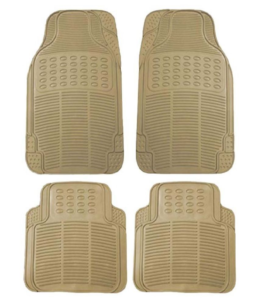 Autofetch Rubber Car Floor/Foot Mats (Set of 4) Beige for Mitsubishi Pajero Sport