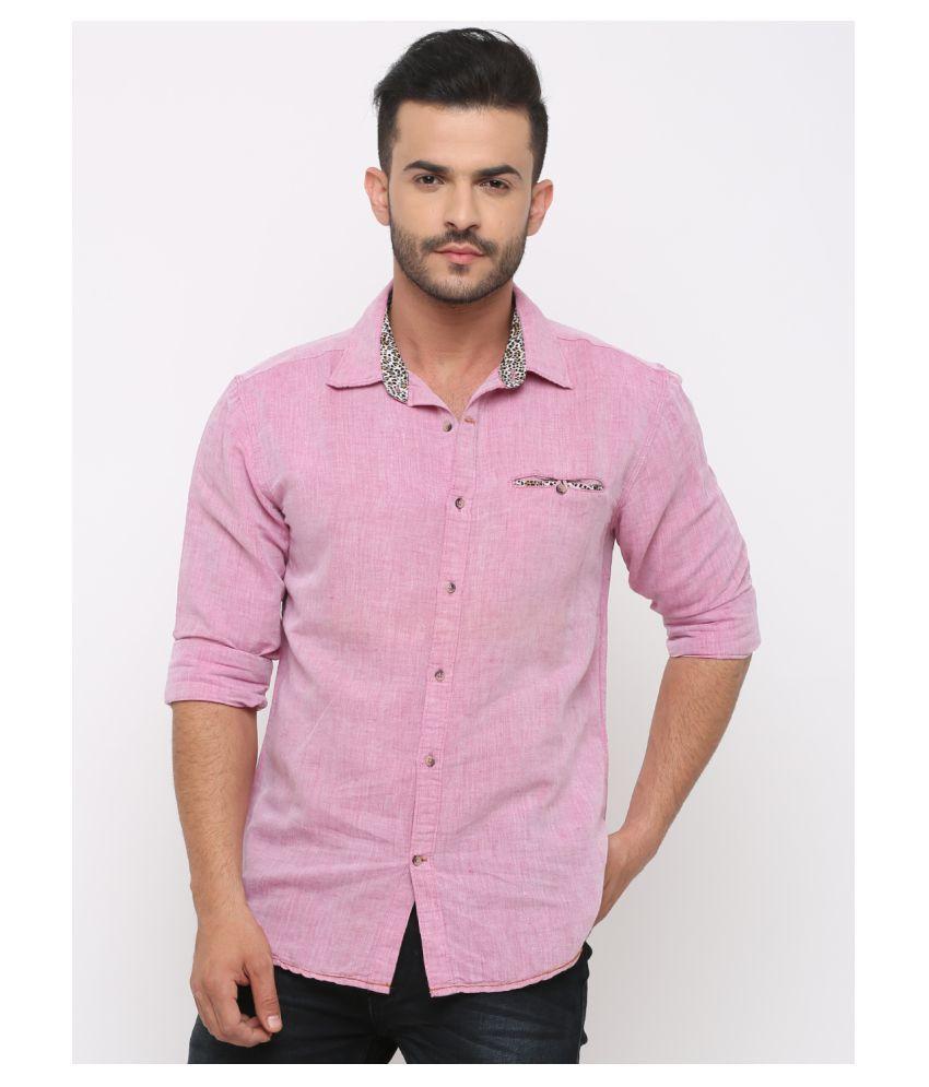 Showoff 100 Percent Cotton Pink Solids Shirt