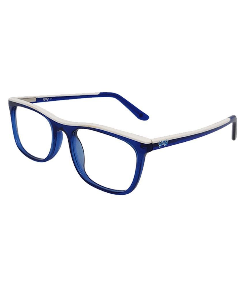 YAY Outline Square Acetate Blue Color Kids Spectacle Frame by-Enrico