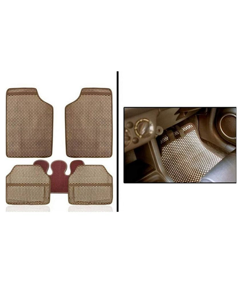 Autofetch Car Eclipse Odourless Floor/Foot Mats (Set of 5) Beige for Hyundai New Creta