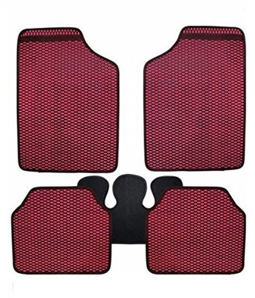 Autofetch Car Eclipse Odourless Floor/Foot Mats (Set of 5) Red for Tata Harrier
