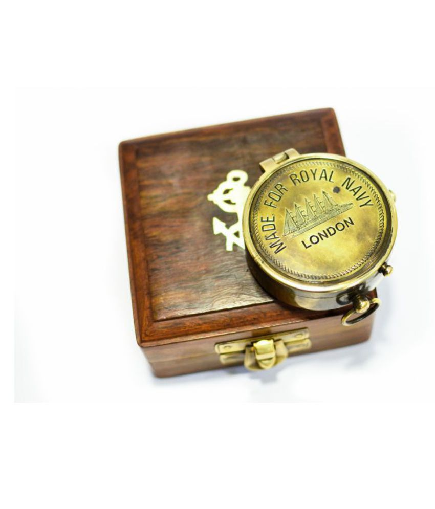 jezara overseas Vintage brass made for royal navy compass with calendar antique item gifting with wood box