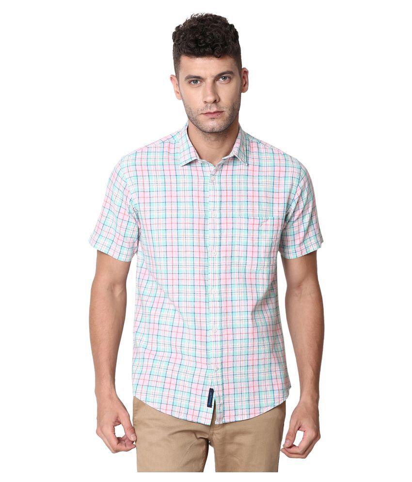 CAVALLO by Linen club Linen Pink Checks Shirt
