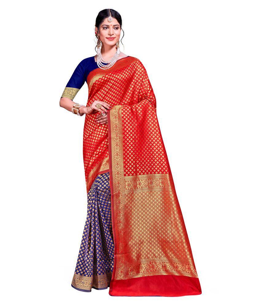Maroosh Blue,Red Banarasi Silk Saree