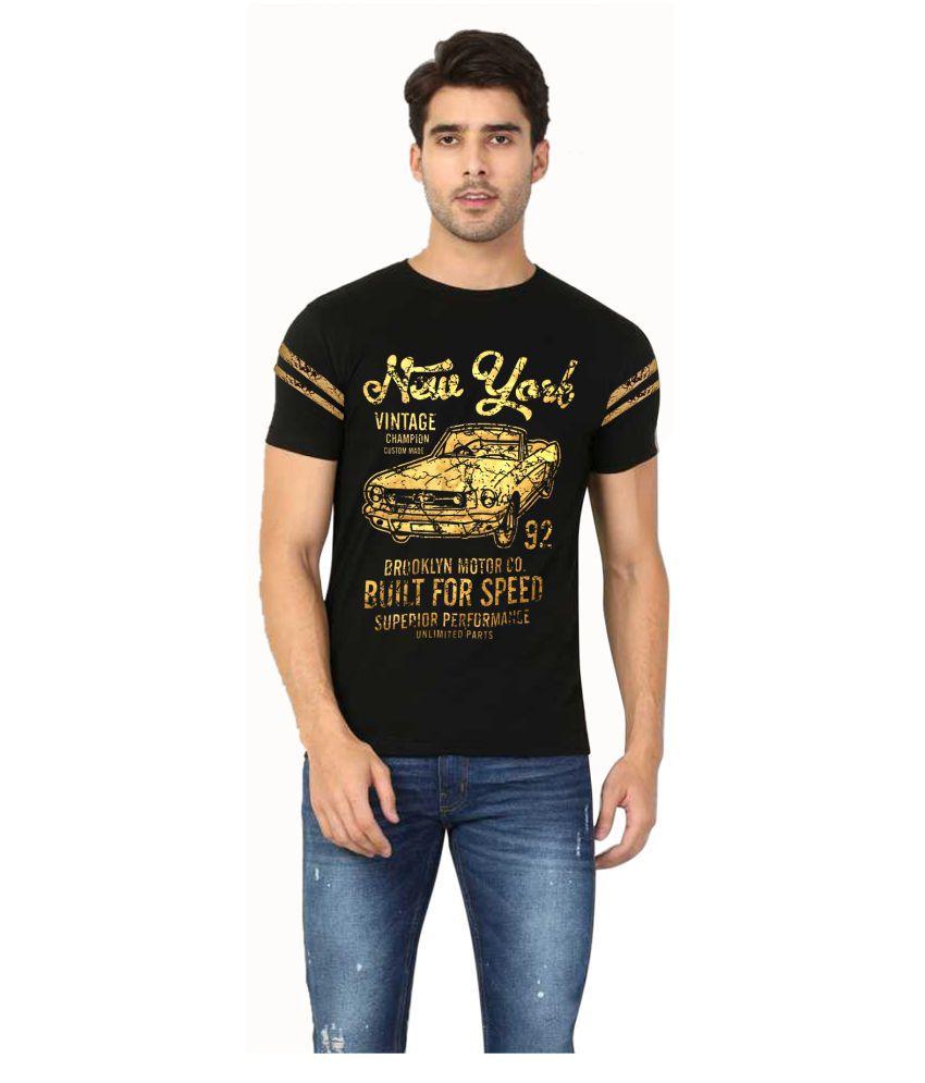 Green Club 100 Percent Cotton Black Self Design T-Shirt