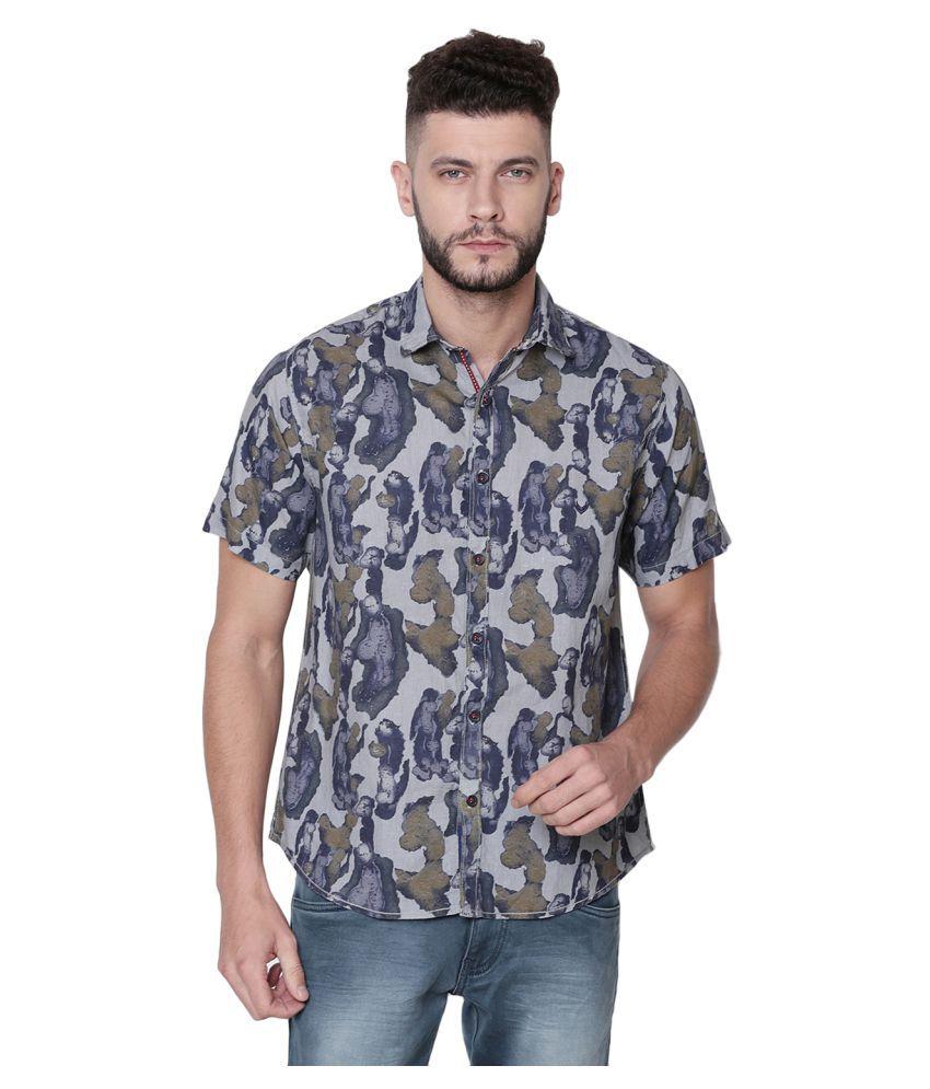 Linen Club Linen Blue Prints Shirt