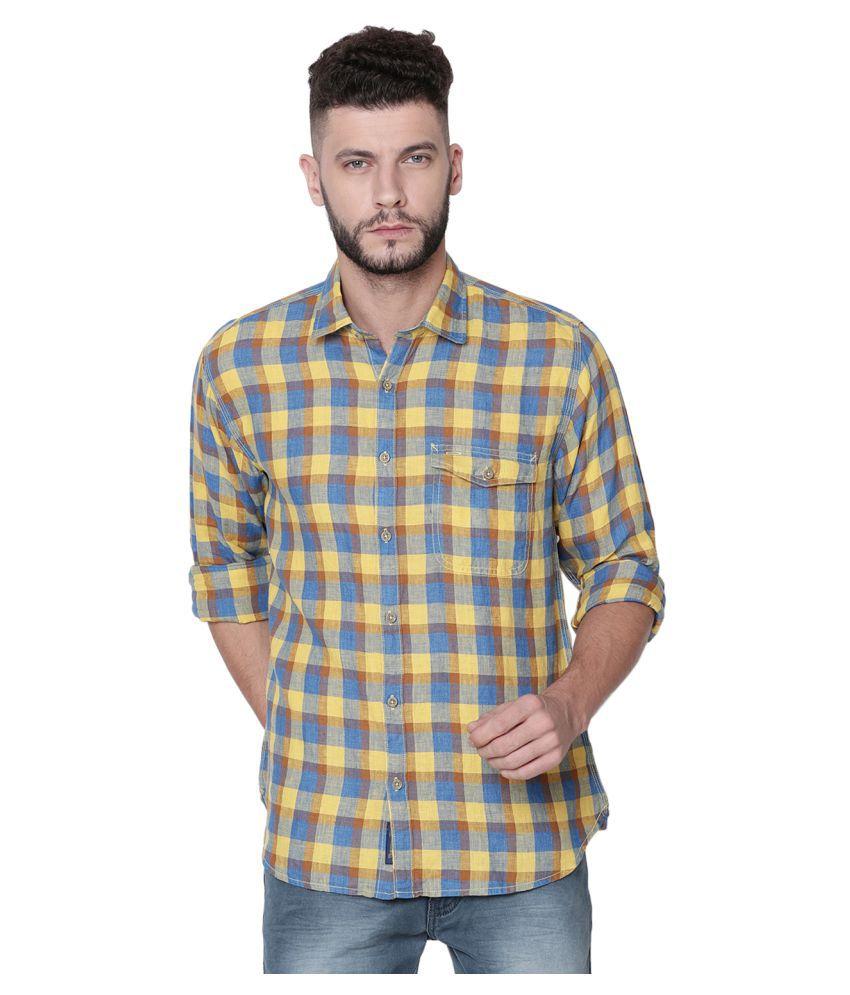 Linen Club Linen Yellow Checks Shirt