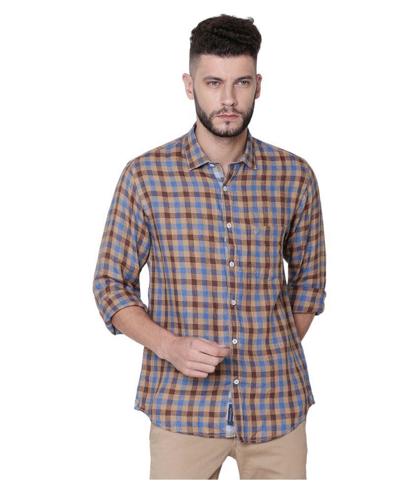 Linen Club Linen Brown Checks Shirt