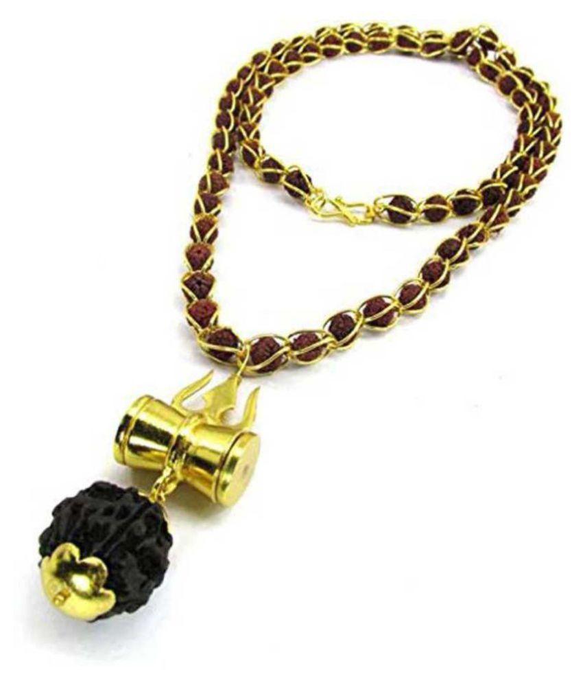 PAYSTORE 5 Mukhi Rudraksha Wired Bead Mala With Shiv Trishul & Damru Brass Necklace Brass Pendant Set