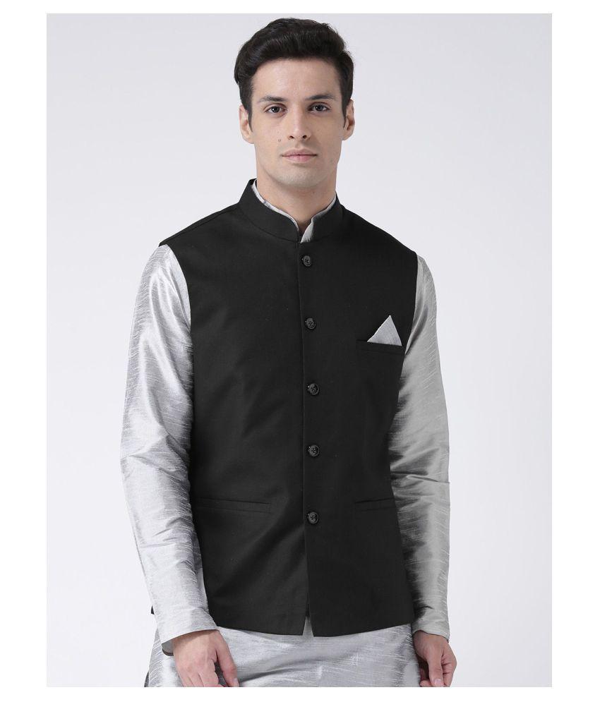 Deyann Black Cotton Nehru Jacket