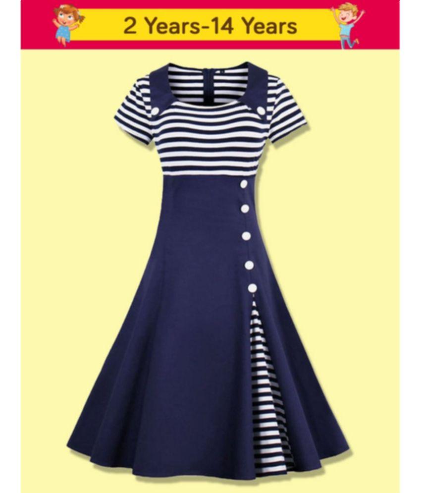 Ad Av Girls Blue Stripe Collar Partywear Frock Dress For Girl