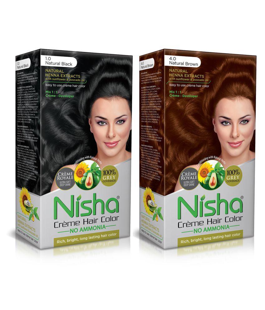 Nisha (60gm, 60ml, 12ml) Cream Each Pack Permanent Hair Color Brown Natural black 1 & Natural Brown 4 120 mL Pack of 2