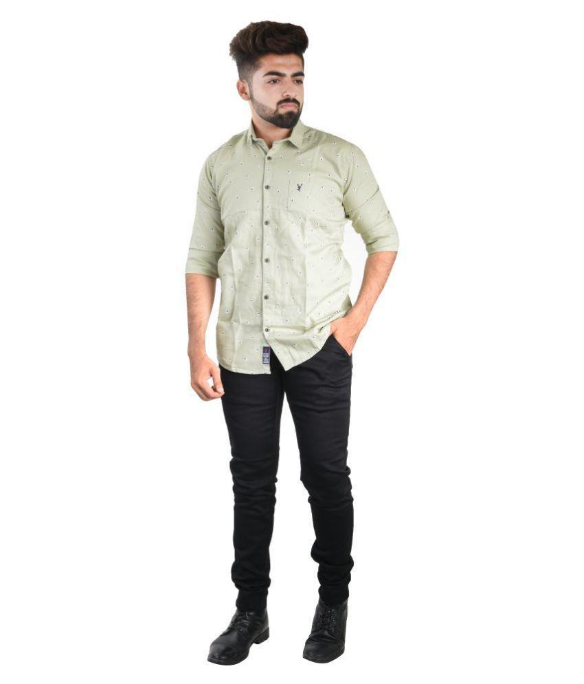 CastleBuck 100 Percent Cotton Green Prints Shirt