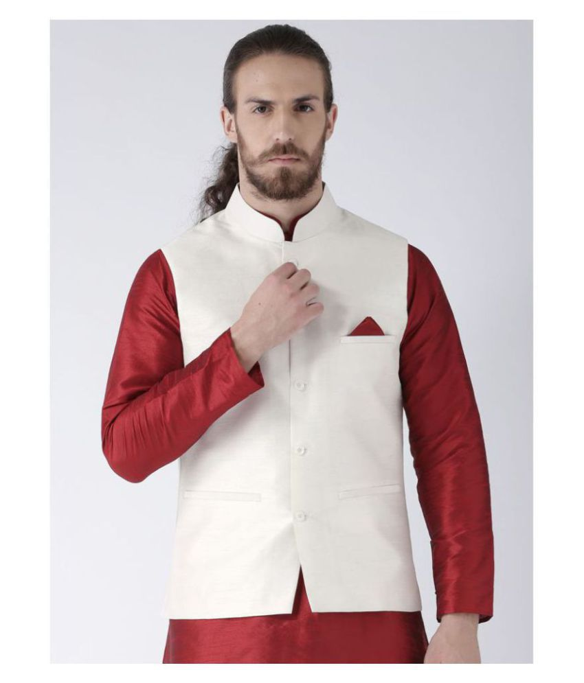 Deyann White Silk Blend Nehru Jacket