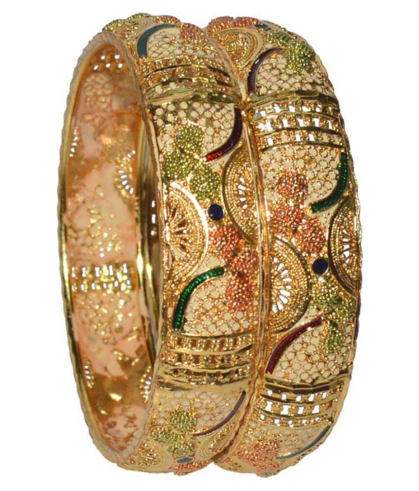 Jewels Kafe One Gram Gold-plated Bangle Set