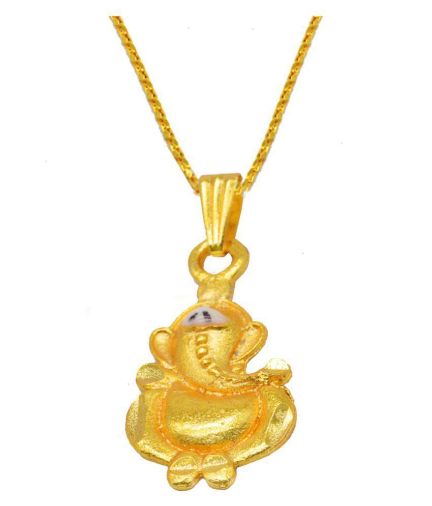 Religious Jewelry Lord Ganesha Locket With Chain Gold-plated Brass Pendant Set