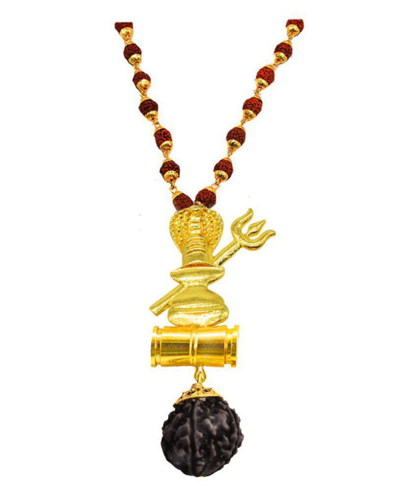 Men Style  Shivling Sheshnag Trishula Damaru Locket With Puchmukhi Rudraksha Mala Gold-plated Beads Brass, Wood Pendant Set