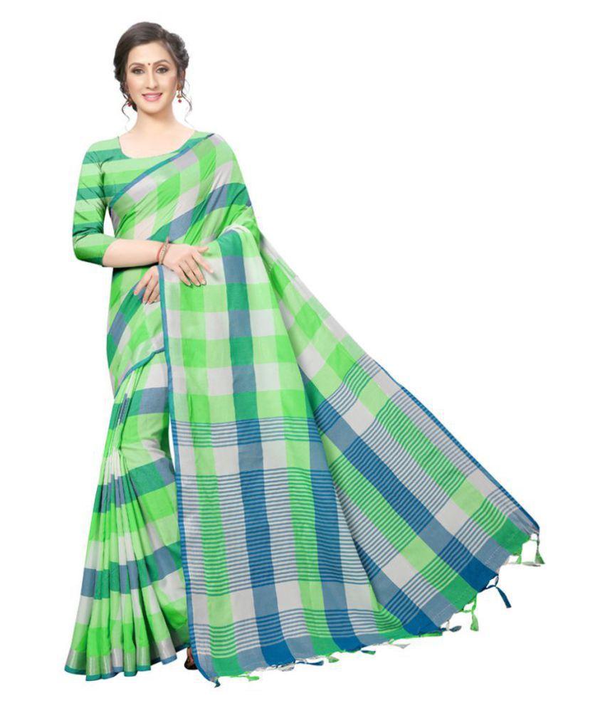 Ruchika Fashion Green Cotton Silk Saree