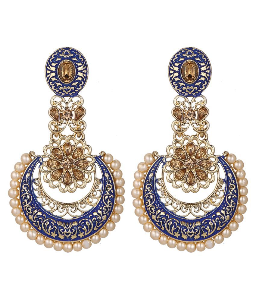 Archi Collection Fashion Jewellery Stylish  Designer Wedding Fancy Party Wear Meenakari Dangle Chandbali Earring Set