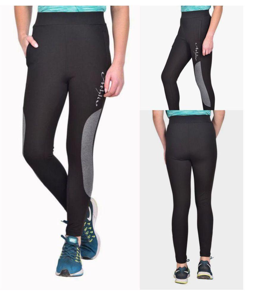 ATHLIV Black Polyester Solid Tights