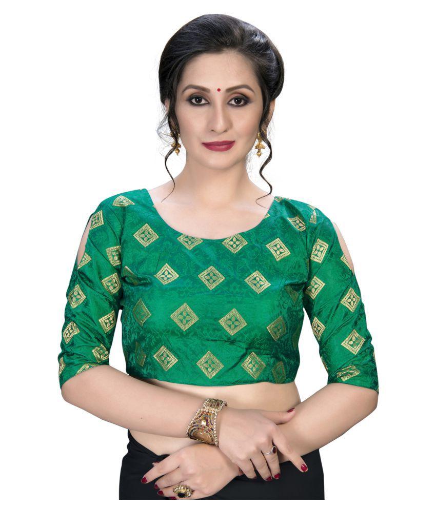 Amrutam Fab Green Jacquard Semi Stitched Blouse