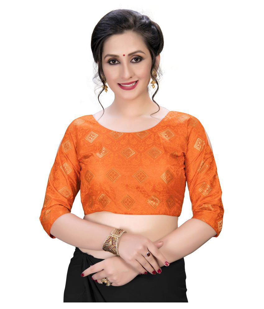 Amrutam Fab Orange Jacquard Semi Stitched Blouse