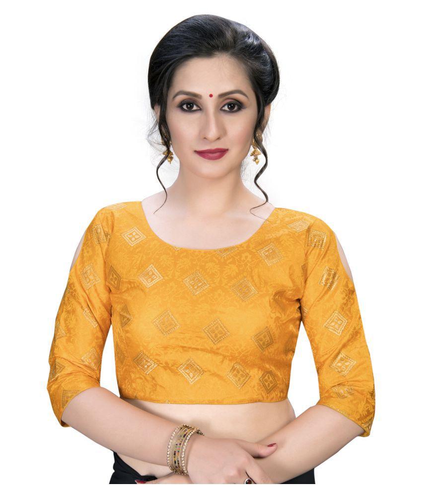 Amrutam Fab Yellow Jacquard Semi Stitched Blouse