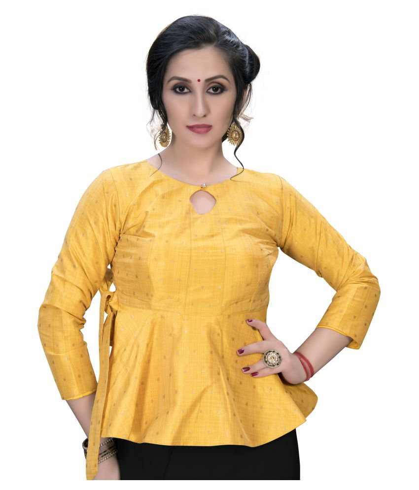 Amrutam Fab Yellow Silk Semi Stitched Blouse