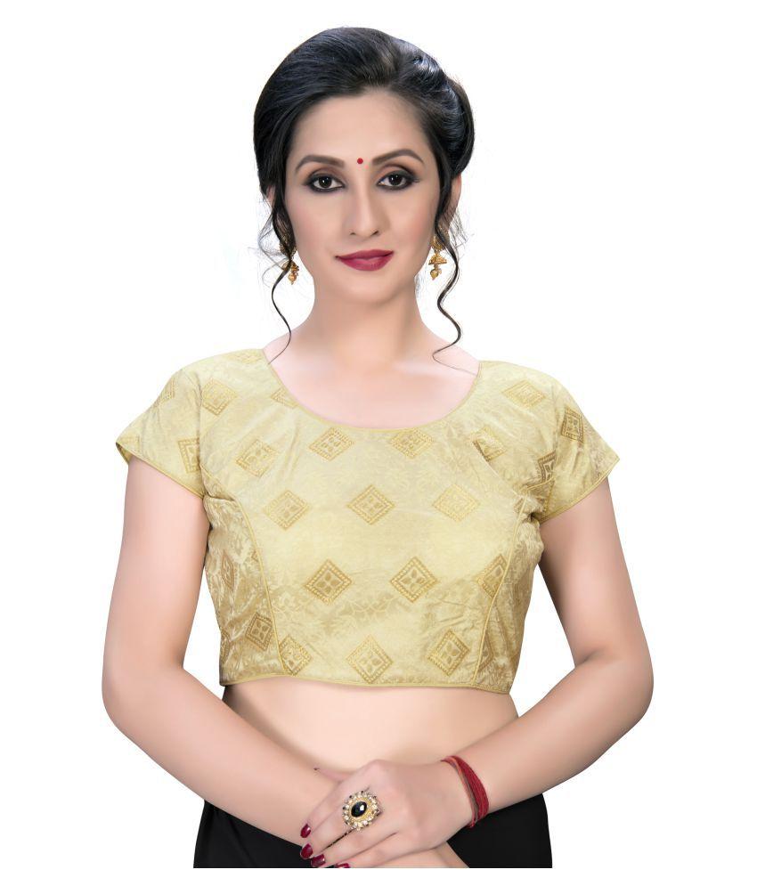 Shubh Sanidhya Beige Jacquard Semi Stitched Blouse