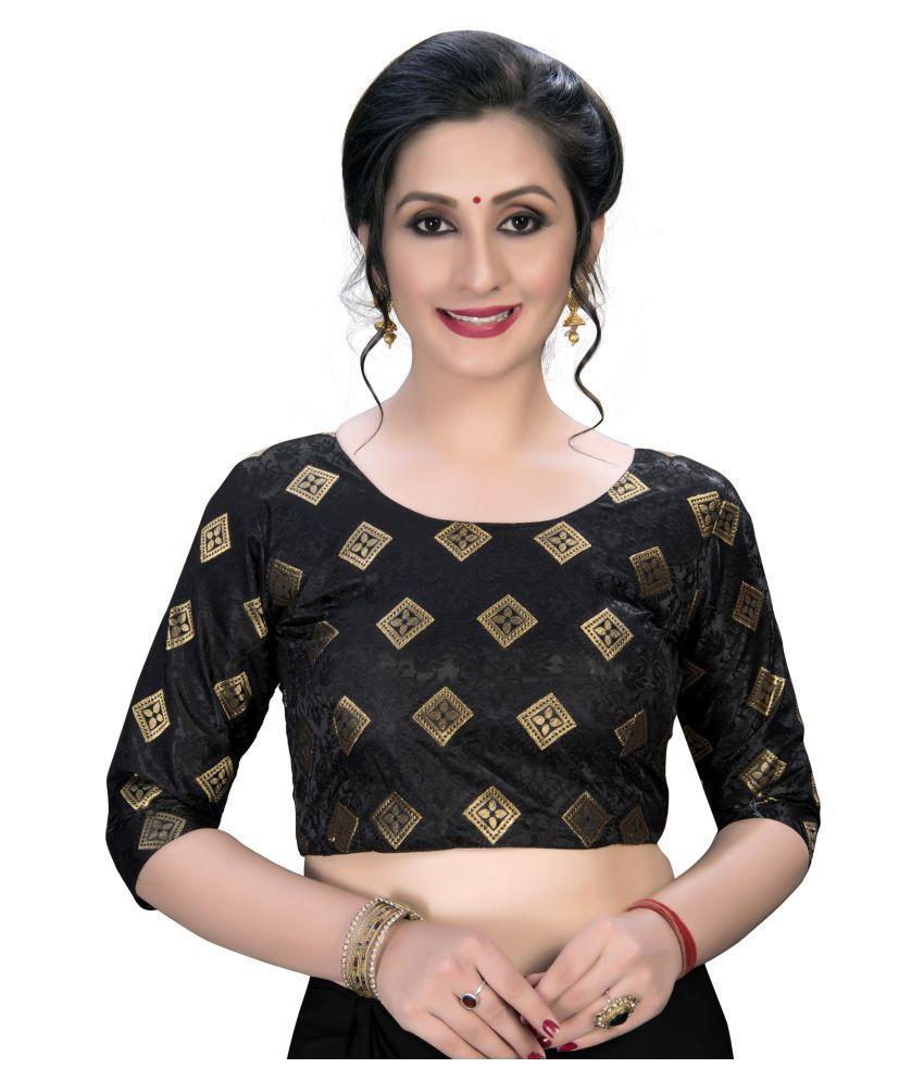 Shubh Sanidhya Black Jacquard Semi Stitched Blouse