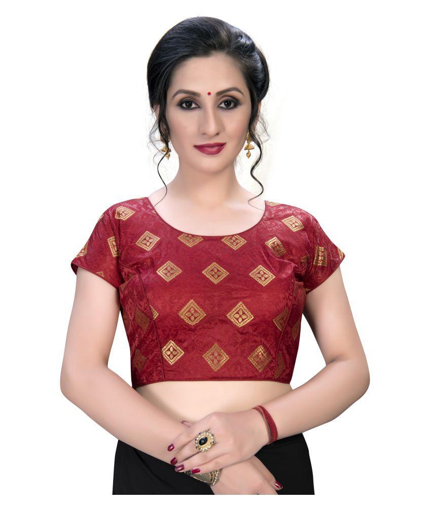 Shubh Sanidhya Maroon Jacquard Semi Stitched Blouse
