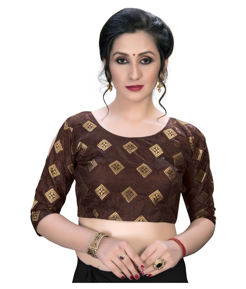 Fab Dadu Brown Jacquard Semi Stitched Blouse